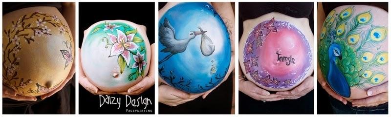 dünyaca ünlü vücut boyama sanatçısı daizy'nin hamile kadınların karnına yaptığı boyama çalışmaları