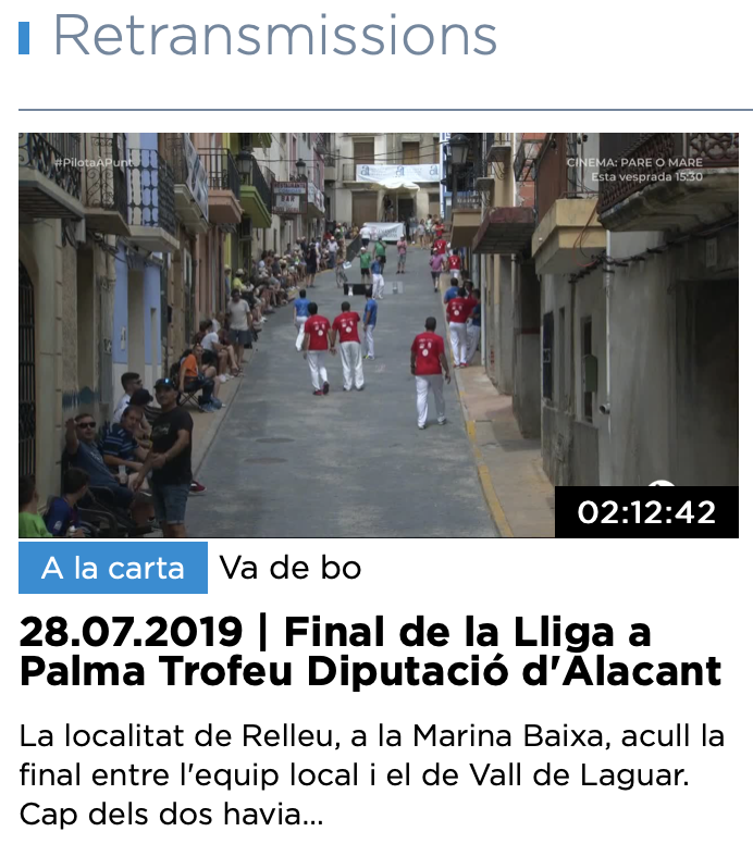 20190706-RELLEU-VIDEO-Campió Final XXVII a Palma a06/07/2019. Pilota Valenciana- Diputació d'Alacan
