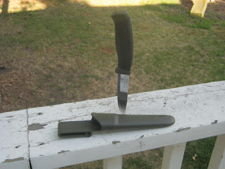 Mora Companion MG Fixed Blade Knife, stuck in my deck rail