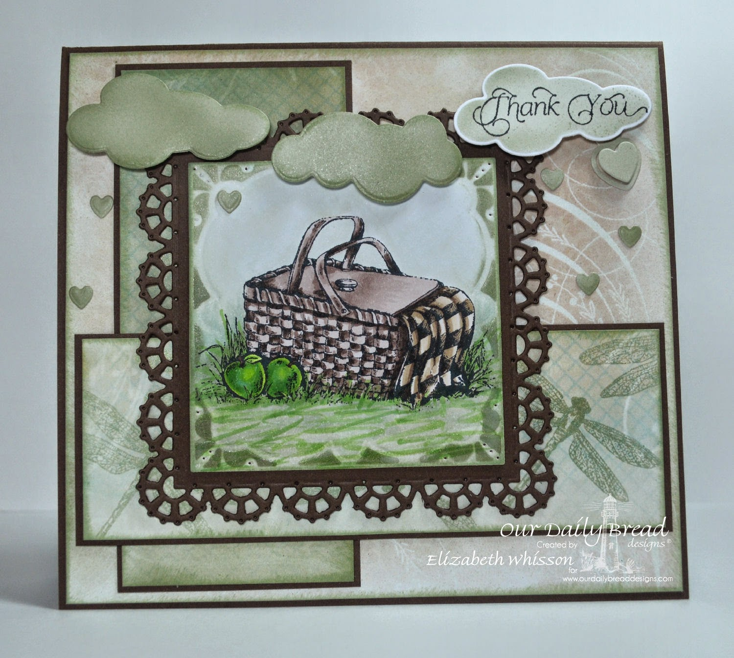 Our Daily Bread Designs, Thank you, Dragonfly Mini, ODBD Layered Lacey Squares Dies, ODBD Clouds and Raindrops Dies, ODBD Mini Tags Dies, ODBD Shabby Rose Paper Collection, Designed by Elizabeth Whisson, Copics, picnic, apples