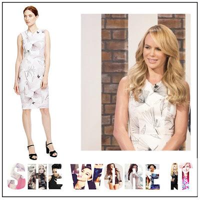 Amanda Holden, Black, Cream, Dress, Leaf Print, Light Pink, Marks And Spencer, Pencil Dress, Shift Dress, Sketch Print, Sleeveless, This Morning, V-Neck,