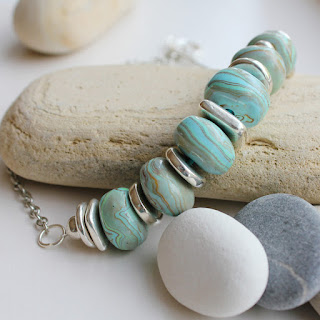 Handmade polymer clay beads necklace