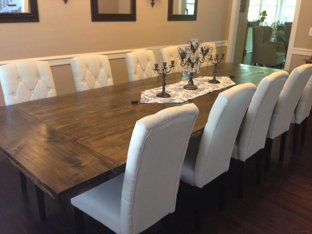 I Showed Him Some Pictures Of What I Wanted   A Rustic Restoration Hardware  Inspired, Dark Plank Table With Cream Linen Upholstered Chairs. Part 90