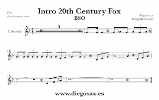 Partitura de la Sintonía de la 20th Century Fox para Clariente  by Alfred Newman Sheet Music for Clarinet Music Scores