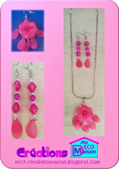 collier et boucles d'oreilles couleur fuchsia