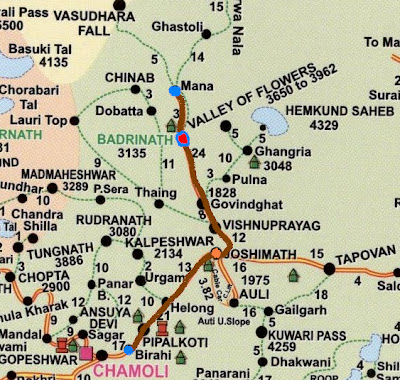 Birahi-Joshimath-Badrinath Travel route map of the Char Dham in the Himalayas