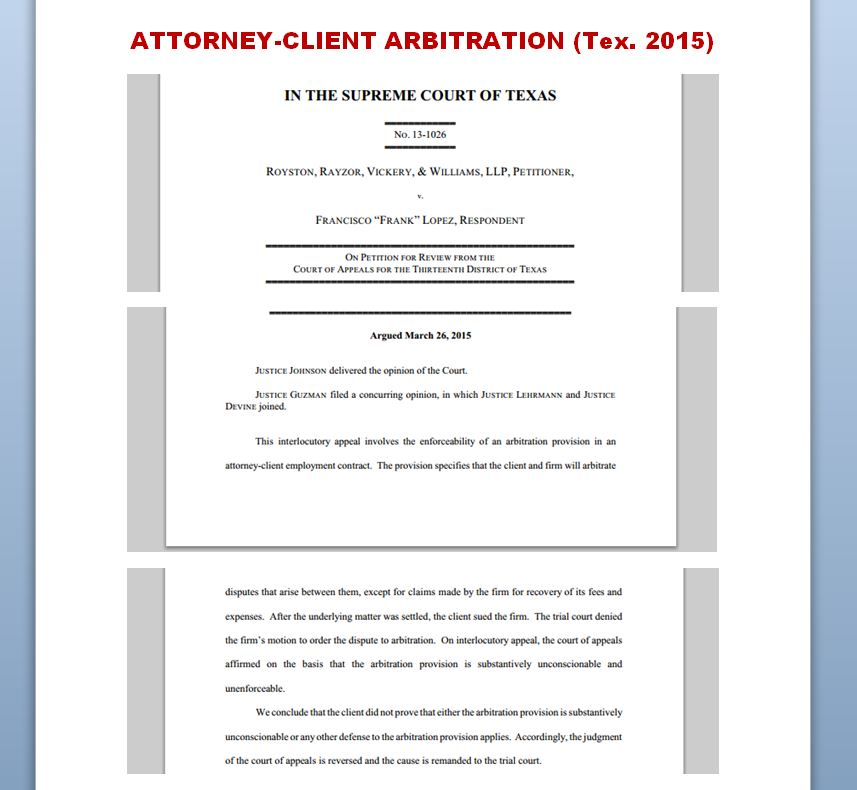 Adr Law Texas Lopsided AttorneyClient Arbitration Agreements