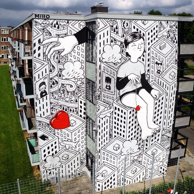 Heerlen in the Netherlands is being transformed one mural at a time and the latest addition to the collection is a rad new piece from Millo.