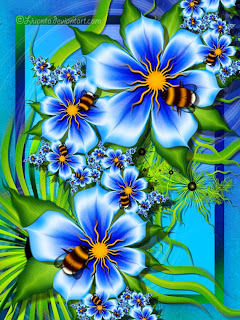 computer generated bees and flowers in shades of blues and oranges