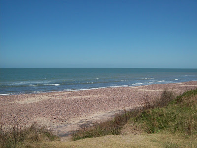 Playa: agua y piedras