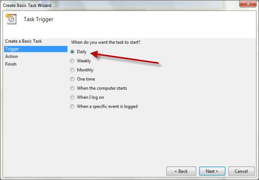 task scheduler create task daily Cara Membuat Windows 7 Startup Dan Shutdown Terjadwal