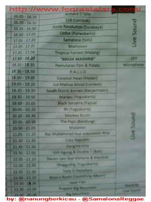Jadwal Rundown Indonesia Reggae Fest 2011