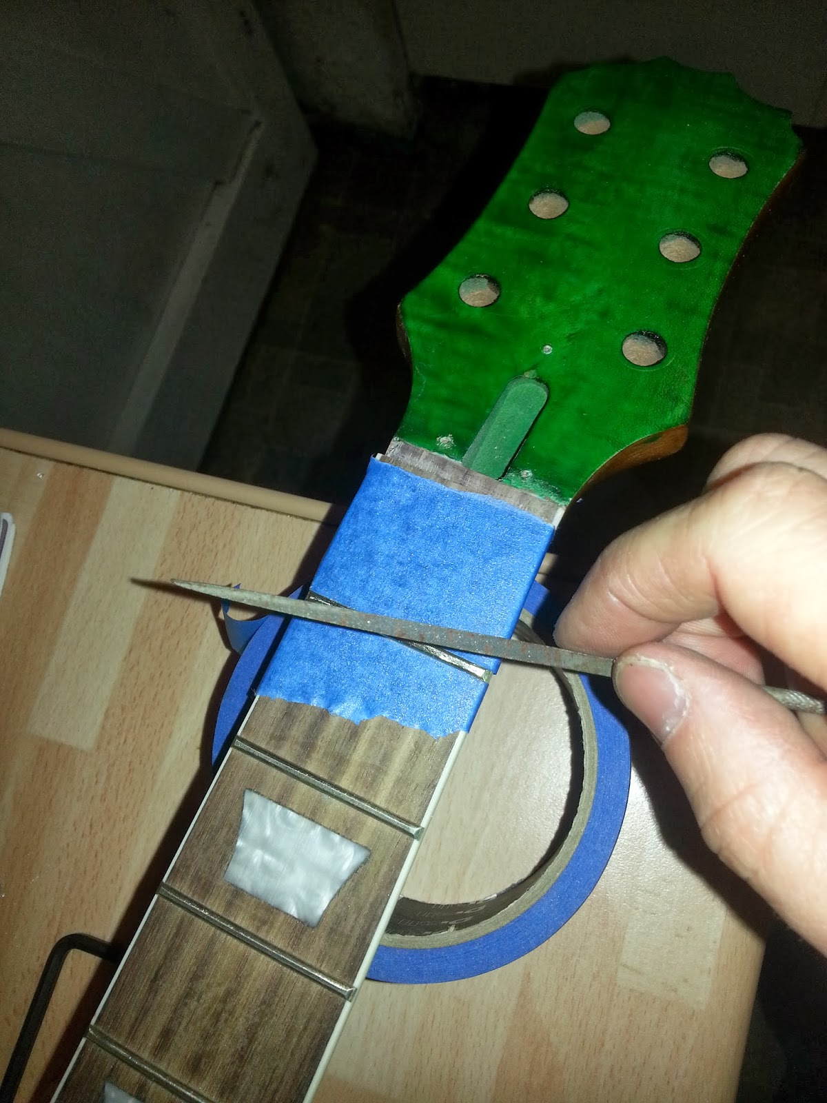 Lils Guitar Project Humbucker Wiring Challenge Mylespaulcom The Frets Were Then Gone Over With Fine Abrasive Paper To Remove Tool Marks And Finally Buffed A Smooth Polish Wire Wool