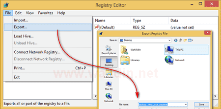 cara-export-registry-windows