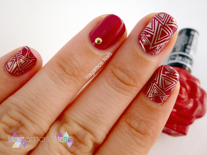 Nail Art Rojo Semipermanente. Konad España/Roses Cosmetics. Hagamos Nails