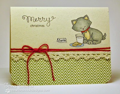 Cat with Milk and Cookies card by Tessa Wise for Newton's Nook Designs