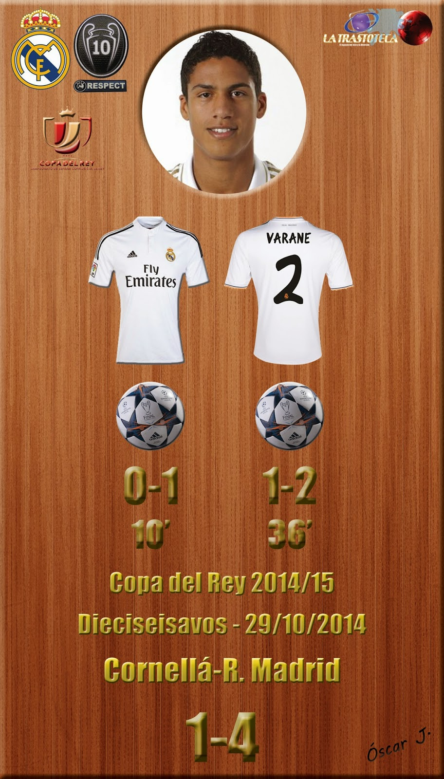 Cornellá 1-4 Real Madrid - Copa del Rey 2014/15 - (29/10/2014) - Doblete de Varane