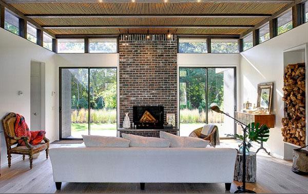 Interior Brick Wall With Window And Fireplace~ Decorar Muros Interiores