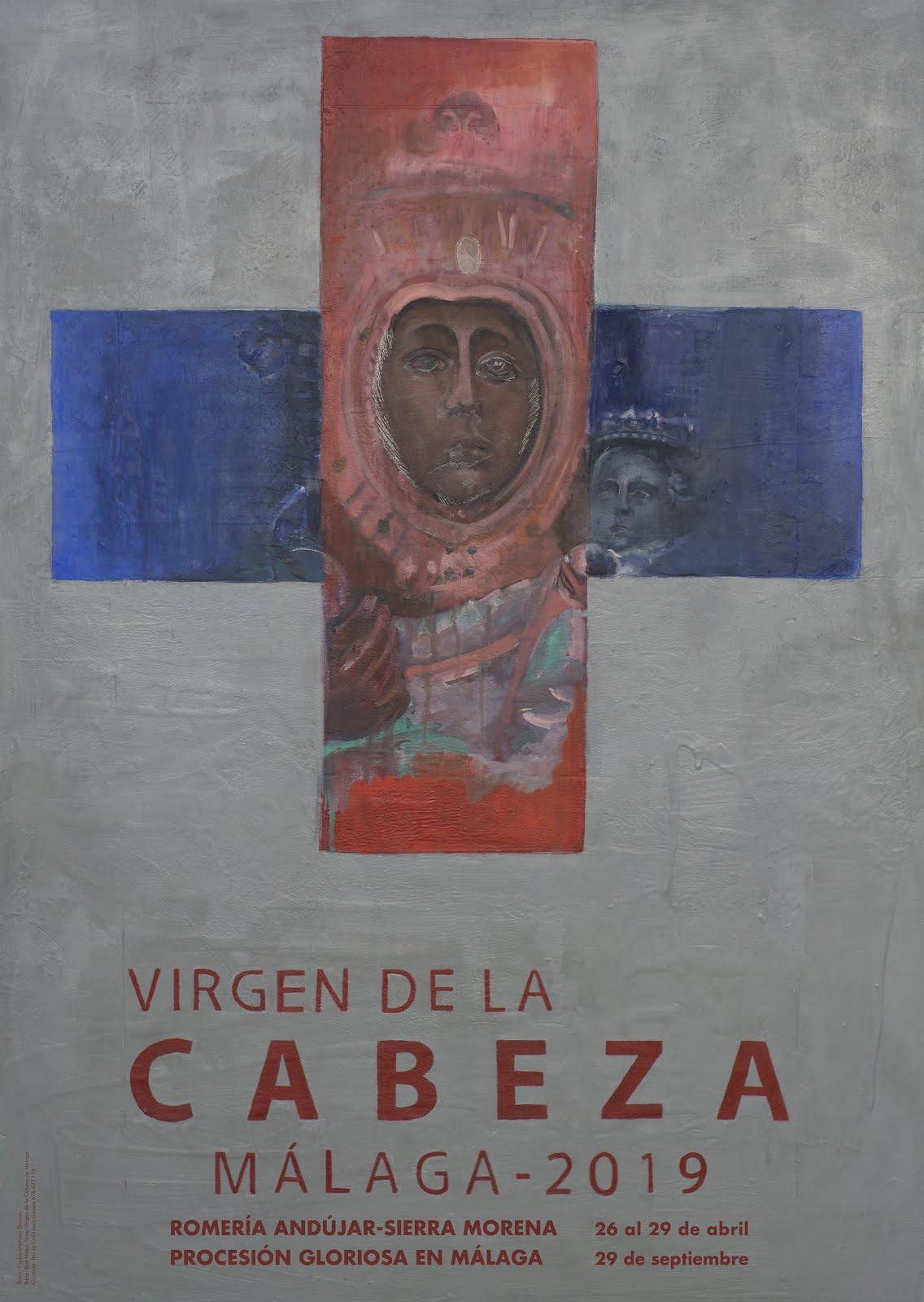 """CARTEL DE ROMERÍA Y PROCESIÓN """"CABEZA 2019"""" HDAD. DE MÁLAGA."""