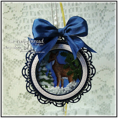 Our Daily Bread Designs,Peaceful deer, Christmas Pattern Ornaments, Circle ornament dies, Double stitched circle dies, Doily dies, designed by Chris Olsen
