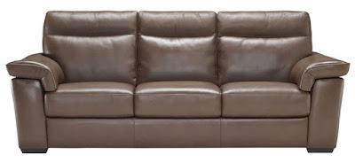 Chocolate Leather Sofa with Padded Headrests