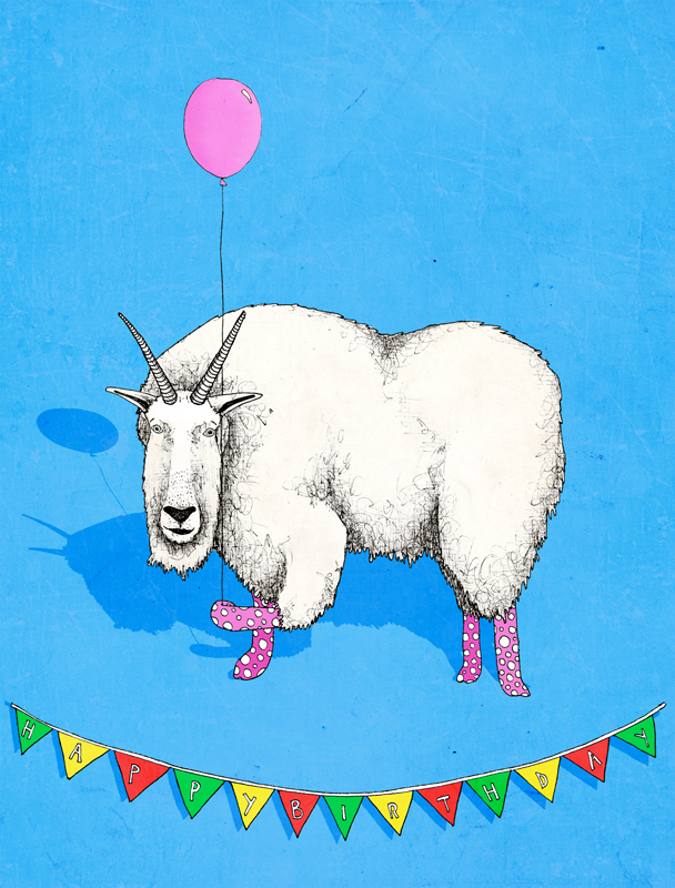 kate lindop illustration Birthday Mountain Goat – Goat Birthday Card
