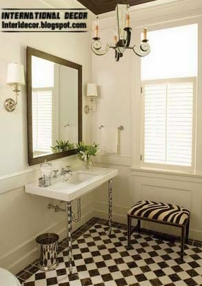 Strip Black And White Floor Tiles For Bathroom And Toilet