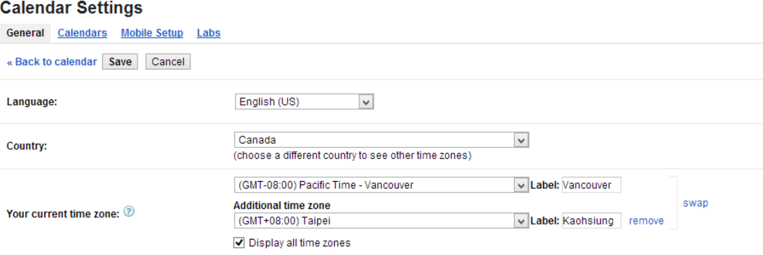 how to change timezone in google mail
