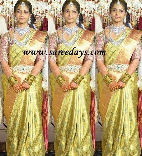 Latest saree designs green kanchipuram silk bridal saree green kanchipuram silk bridal saree altavistaventures Image collections