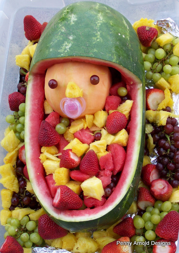 watermelon baby shower fruit bowl beauty and the beast scrap aholic