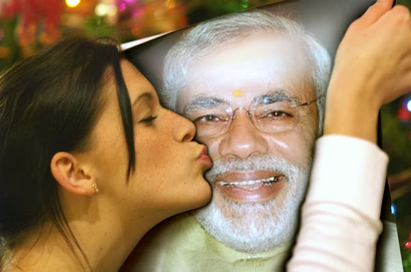Funny Pictures Narendra Modi Being Kissed Girl