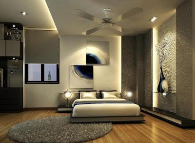dormitorio con paredes elegantes
