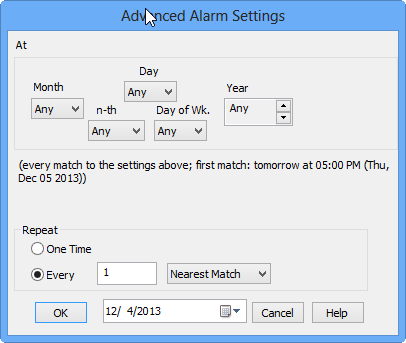 Advanced alarm setting of Your Voice Reminder