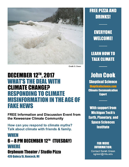 Keweenaw Climate Community to host Skeptical Science expert Dec. 12