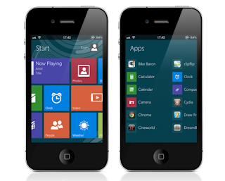Windows 8 Metro UI interface for iPhone and iPod Touch