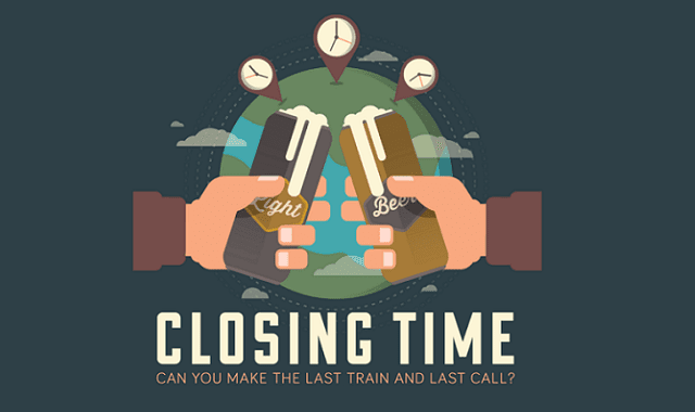 Closing time around the world: Can you make the last train and last call?