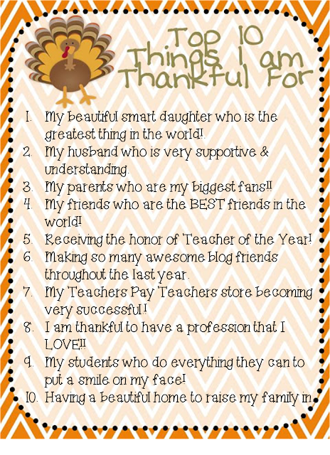 10 Things I Am Thankful For Linky and WINNER!!