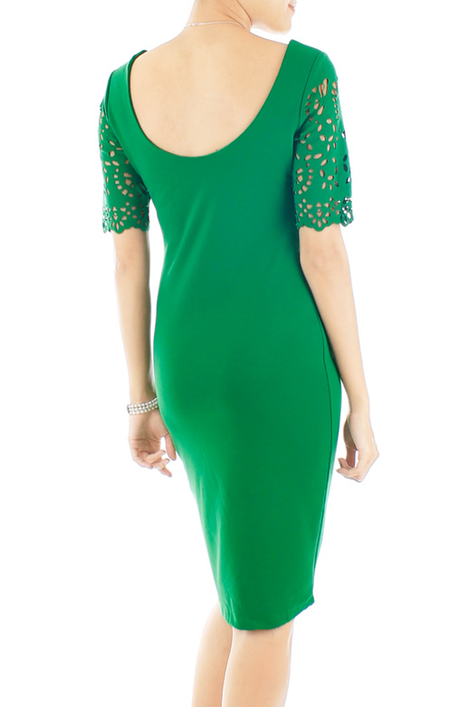 Infinite Lattice Pencil Dress - Green