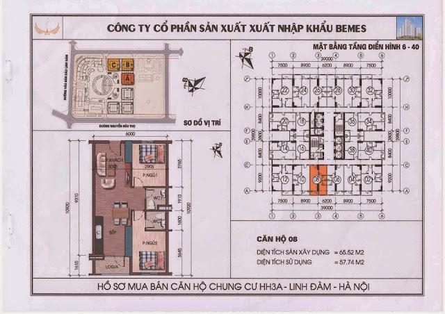 Căn hộ 08 - Chung Cư HH3A Linh Đàm