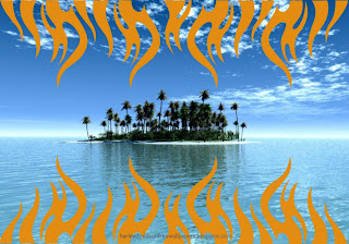 Harley Davidson Wallpapers for free Bikes Flames Logo in Paradise Island background