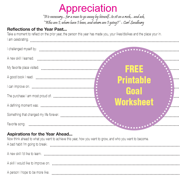 FREE Printable Goal Worksheet - Carolyn May Blog