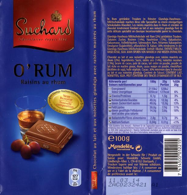 tablette de chocolat lait gourmand suchard o'rum