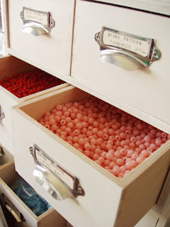 cabinet drawers. bead storage. ideas to store your craft supplies