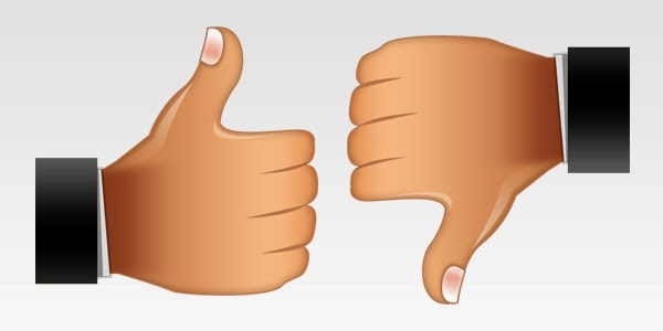 Thumbs Up and Thumbs Down Icons PSD