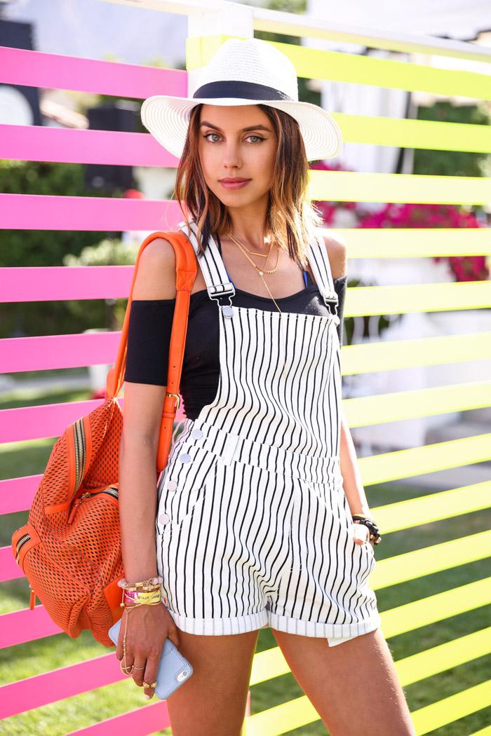 Coachella 2015 style, Coachella outfit, Coachella overalls, black and white Coachella outfit