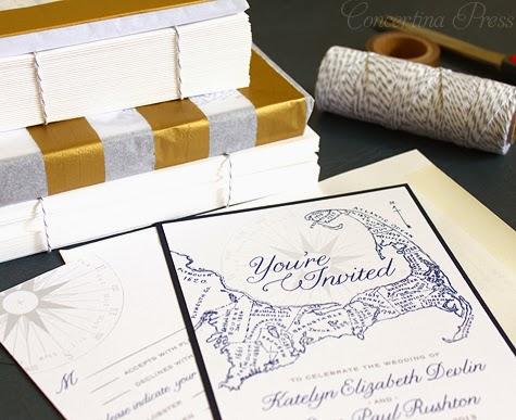 Navy Cape Cod Wedding Invites by Concertina Press