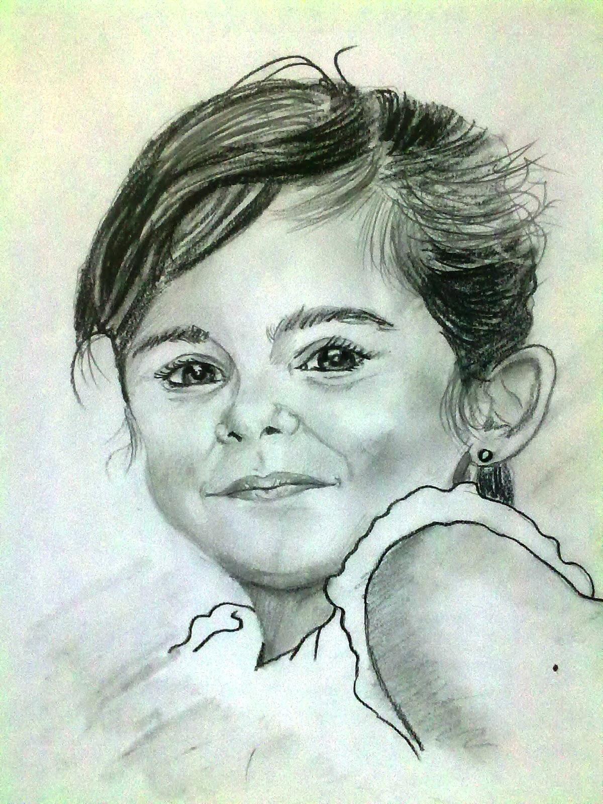 Retrato de niña 1. Carboncillo sobre cartulina. 46 x 32 cms. Pintor Juan Mariscal.