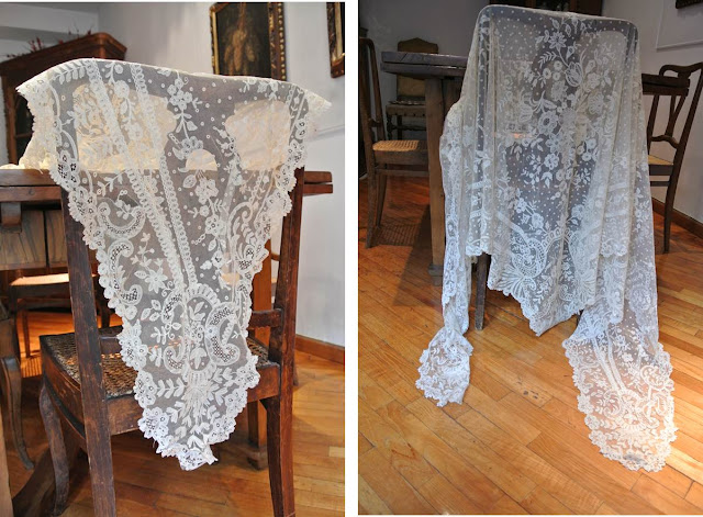 breathtaking antique lace shawl Napoleon era 1800s