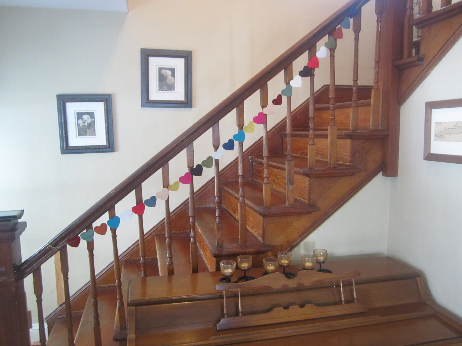 Felt heart garland for Hanging garland on staircase