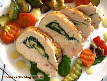 Kuracie prsia plnené špenátom a so zeleninou ratatouille - recepty